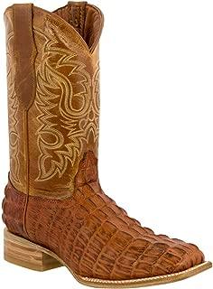Men's Crocodile Alligator Tail Cut Leather Cowboy Western Square Toe Boots Cognac