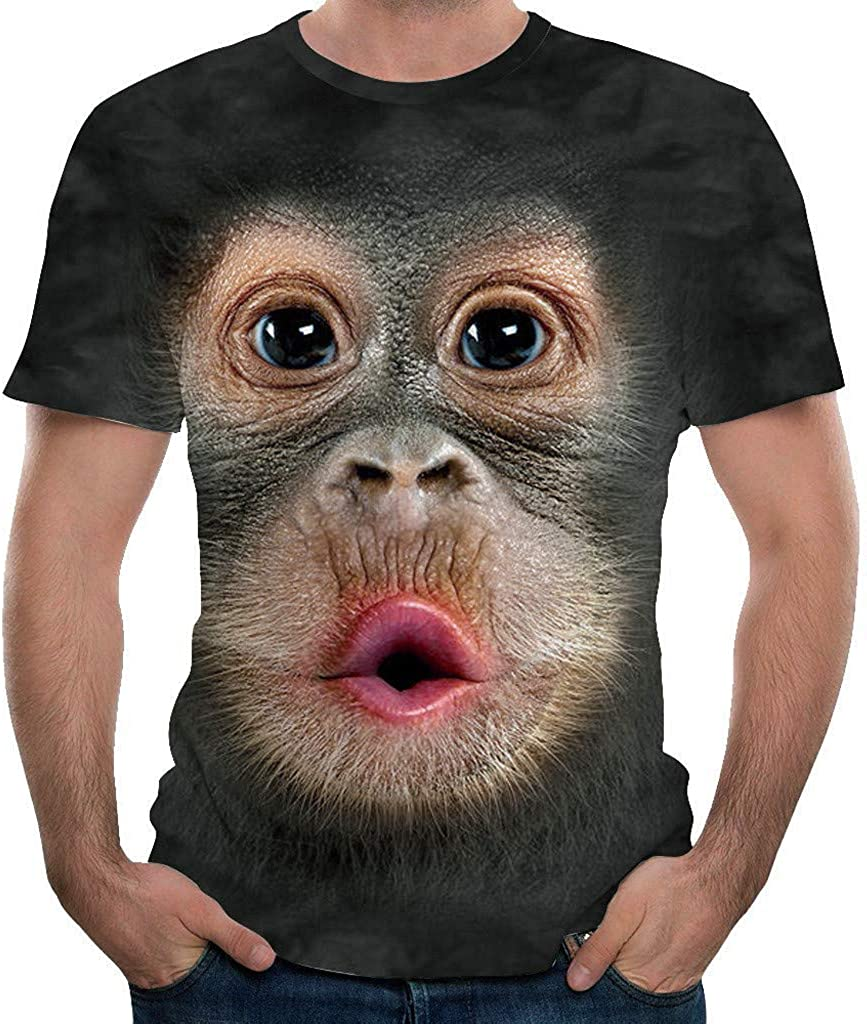 FUNEY Unisex Casual 3D Illusion Print Animals Short Sleeve T-Shirt Creative Funny Graphic Tees Tops for Women and Men