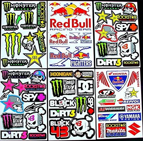 bikeworld 6 sheets motocross stickers 6tt1 MX Energy Drink Graphic Stiker Bike BMX Scooter Decal great BUMPER PACK gift