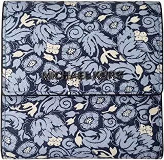 Michael Kors Jet Set Travel Small Card Case Carryall Leather Wallet in Navy Poppy Print