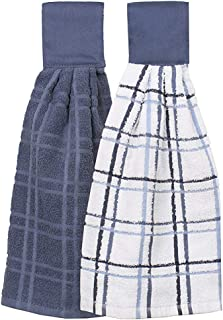 Trenton Gifts 100% Cotton Hanging Tie Towels | 2 Pack | Checked and Solid (Blue)