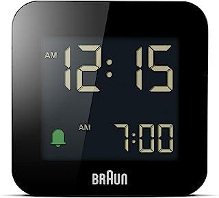 Braun Bc-08-B digital väckarklocka för resor, LCD-skärm, snooze-funktion, bakgrundsbelysning, mattsvart