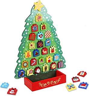 Unomor Christmas Wooden Advent Calendar - Christmas Tree Design with Star Tree Topper - 31 Magnets Countdown to Christmas for Kids Friends