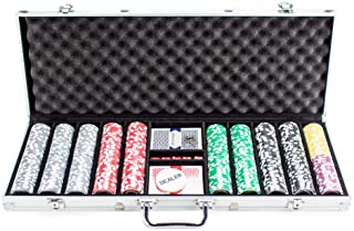500 Count The Ultimate Poker Set – 14 Gram Clay Composite Chips with Aluminum Case, Playing Cards, & Dealer Button for Texas Hold'em, Blackjack, & Casino Games by Brybelly