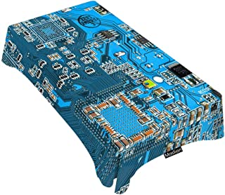 Moslion Decorative Rectangle Table Cloths Geek Circuit Board Tablecloth Table Cover for Dining/BBQ/Picnic/Coffee Table 60 X 104 Inches