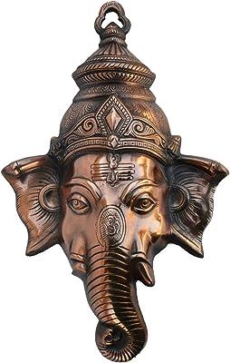 eCraftIndia Lord Ganesha Metal Wall Hanging (25 cm x 7.5 cm x 38.75 cm, Brown)