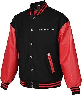 Mens Corvette Letterman Varsity Black Red Wool Bomber Jacket