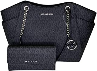 MICHAEL Michael Kors Jet Set Travel Large Chain Shoulder Tote bundled with Michael Kors Jet Set Travel Trifold Wallet (Sig...