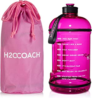 H2OCOACH 1 Gallon Sports Water Bottle with Time Marker   Motivational 3.79 Liters, Reusable BPA Free Jug (128 oz)