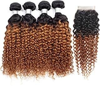 IMAYLI Ombre Curly Hair Bundles with Closure Wet and Wavy Kinky Curly Ombre Human Hair Weave 2 Tone Deep Wave Hair Extensions T1B/30 Color(16161818+14)
