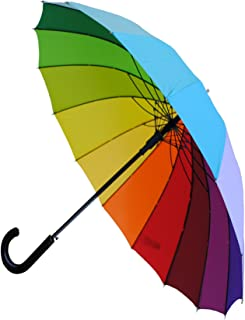 COLLAR AND CUFFS LONDON - Windproof 60MPH - 16 Ribs For SUPER-STRENGTH - EXTRA STRONG - TRIPLE LAYER Reinforced Frame With Fiberglass - StormProtector Straight Umbrella - Auto Open - Rainbow Canopy