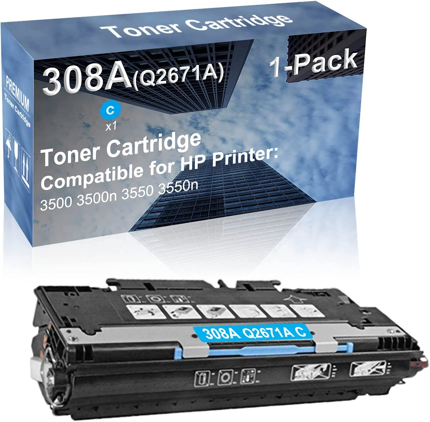 1-Pack (Cyan) Compatible 3500 3500n 3550 3550n Printer Toner Cartridge High Capacity Replacement for HP (Q2671A) 308A 309A Toner Cartridge