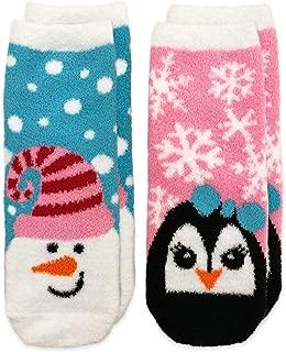 Jefferies Socks Girls' Little Snowman and Penguin Fuzzy Non-Skid Slipper Socks 2 Pair Pack