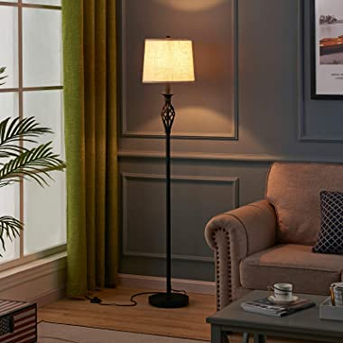 LED Floor Lamp, Ambimall Classic Standing Lamp with Twist Design, Vintage Tall Pole Lamp for Bedroom Living Room Kitchen Offi