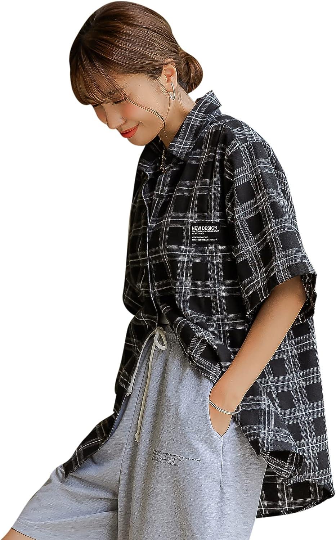 Romwe Women's Plaid Short Sleeve Collar Oversized Button Down Shirts Blouses