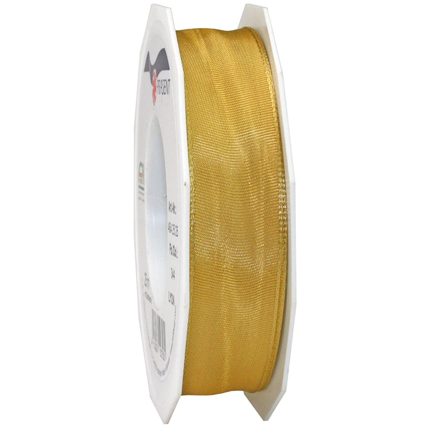 Morex Ribbon French Wired Lyon Ribbon, 1-Inch by 27-Yard Spool, Old Gold