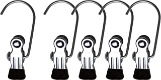 Mawa by Reston Lloyd Accessory Portable Non-Slip Semi Round Single Hook Hanging Clothes Pins/Clips for Laundry or Travel, Style K/1, Set of 5, Black