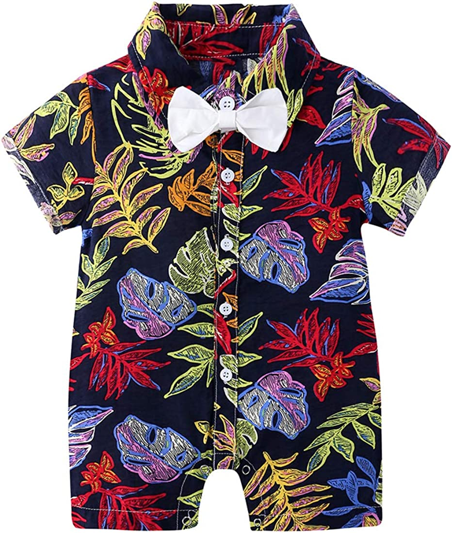 Infant Boy Short Sleeves Bowtie Onesies Baby Button-Down Floral Print Romper One-Piece Hawaiian Style Shirt