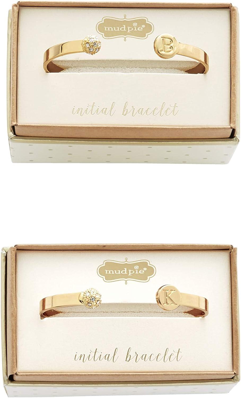 Mud Pie Chelsea Initial Gold Plate Metal Pave Bracelet