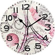 Naanle Cute Print 9.5 Inch Round Wall Clock, Battery Operated Quartz Analog Quiet Desk Clock for Home,Office,School 9.5in Multi g11351689p239c274s441