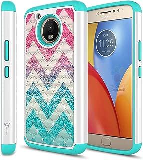 Moto E4 Plus Glitter Case for Girls Women Kids, NageBee Sparkle Bling Studded Rhinestone Diamond Shockproof Hybrid Cover Cute Case for Motorola Moto E4 Plus 4G LTE -Wave