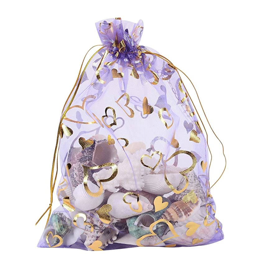 Pandahall 100 PCS 5x7 Inches Heart Printed MediumPurple Organza Bags Jewelry Pouch Bags Organza Velvet Drawstring Pouches Wedding Favors Candy Gift Bags