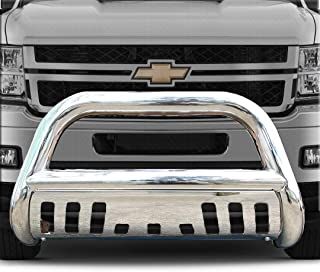 Span Bull Bar Skid Plate Front Push Bumper Grille Guard Stainless Steel Chrome for 2007-2013 Chevy Silverado,GMC Sierra 1500 New Body Style