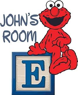 Cartoon Elmo Cute Sitting Sesame Street Customized Wall Decal - Custom Vinyl Wall Art - Personalized Name - Baby Girls Boys Kid Bedroom Wall Decal Room Decor Wall Stickers Decoration Size (40x20 inch)