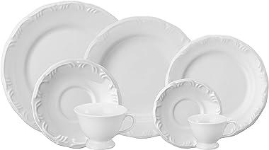 Serviço de Jantar Chá Café 42 peças em Porcelana. Modelo Redondo com Relevo Pomerode. Branca. Fabricado pela Schmidt.