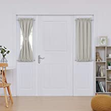 Deconovo Blackout Panel Rod Pocket Blackout Door Curtains Thermal Insulated Sliding Window Curtains 25x40 Inch Light Beige...