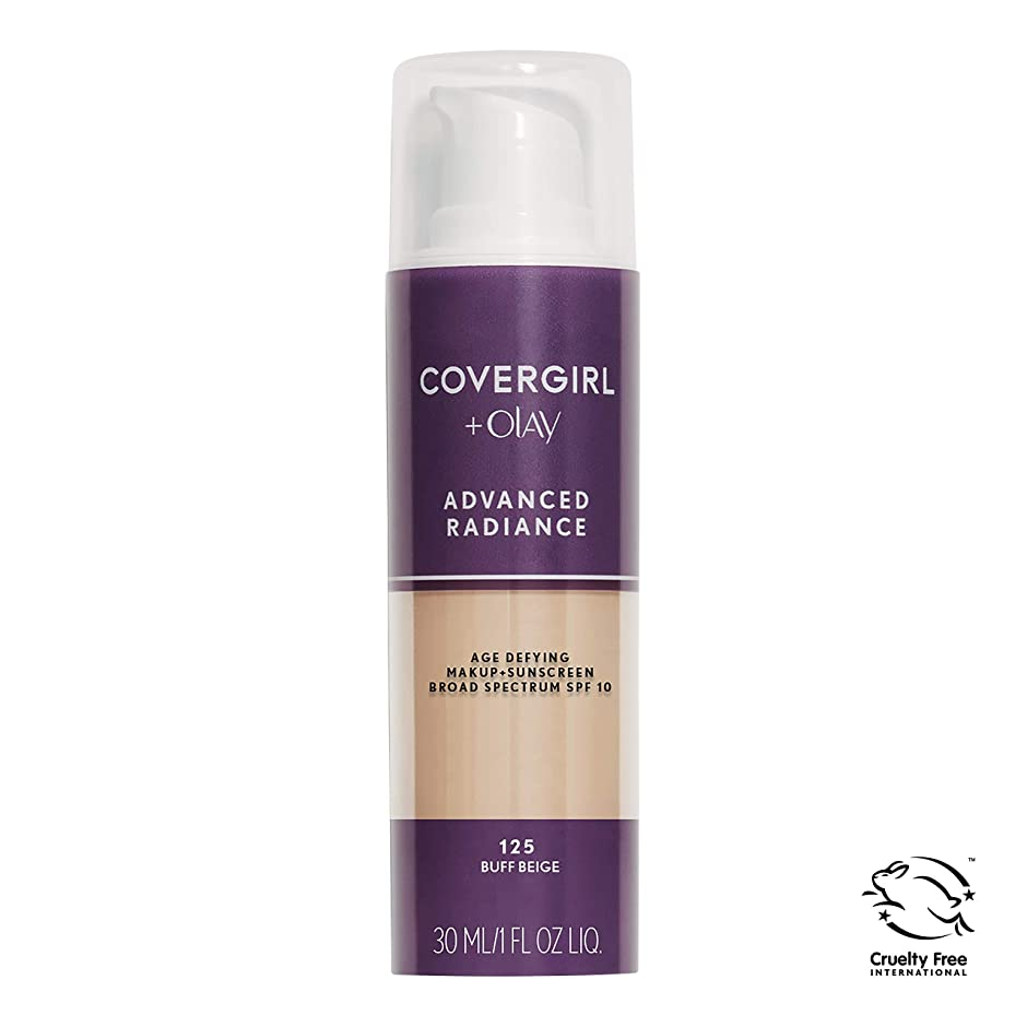 嫌い緯度無数のCOVERGIRL ADVANCED RADIANCE AGE-DEFYING MAKEUP #125 BUFF BEIGE