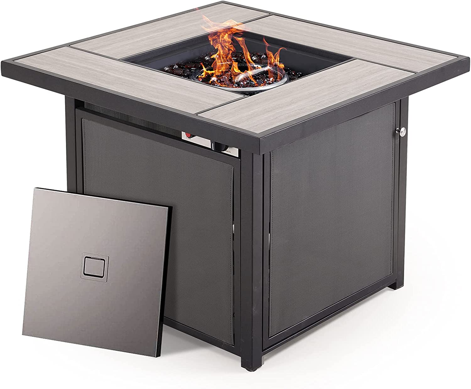 AOBOCO Grand Patio Propane Fire Pit Table,32 inch Outdoor Square Gas Fire Table with Lid,CSA Safety Certification,Ceramic Tile Firepits for Outside Patio