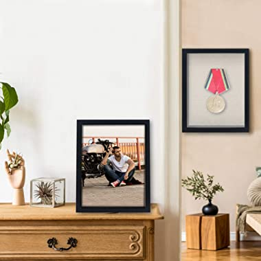 GraduationMall 11x14 Shadow Box Frame Wood Display Case with Linen Back and 6 Stick Pins,1.5 inches Depth,Ideal for Memorabil