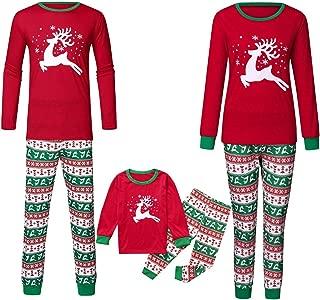 KINDOYO Family Christmas Pajamas Sets Deer Striped Sleepwear