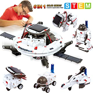MAN NUO STEM Solar Robot Toys 6 in 1 Educational Science Experiment Kit Toys Science Building Set Gifts for Kids Aged 8 9 ...