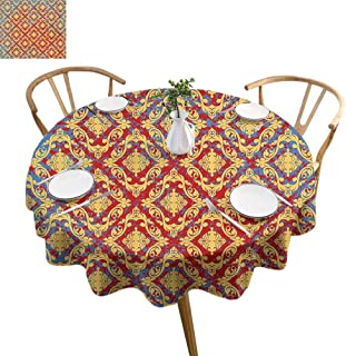 UETECH Overlays Round Tablecloth Damask Decor Vintage Victorian Pattern with Embellished Floral Antique Forms Kitsch Design Yellow Red Parties Wedding Patio Dining D54