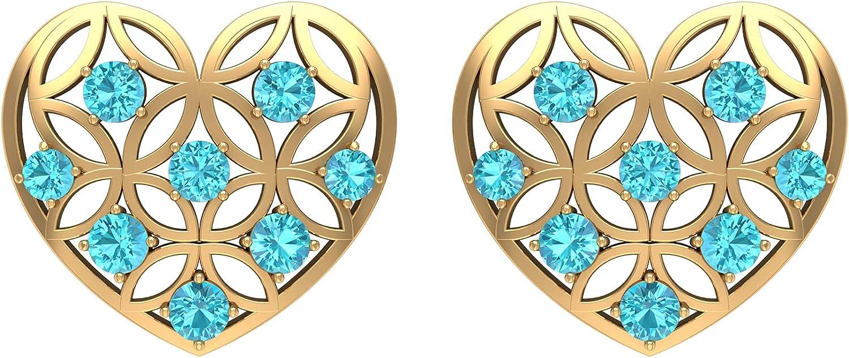 3/4 CT Cut Work Heart Stud Earrings with Swiss Blue Topaz (AAA Quality), Screw back