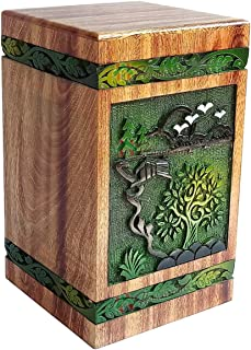 Handicrafts House Hardwood Funeral Urn with Tree of Life, Rosewood Cremation Box for Human Ashes - Handmade Wood Memorials Adult Urns Large Size Keepsake up to 270 Cubic inches