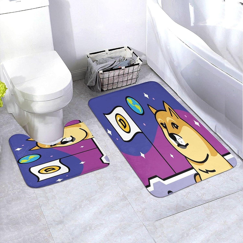 BUERYUZ Mat Silicone Toilet Doorway 2-Piece Popular shop is the lowest Great interest price challenge 24×35.4inch Doge