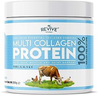 Polvo de Proteína Hidrolizada de Colágeno Múltiple (200g) - Tipos I, II, III, V y X - de Bovinos Alimentados con Pasto, Peces Silvestres, Caldo de Huesos Bovinos Alimentados con Pasto