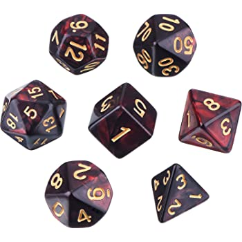 Polyhedral 7-Die Dice Set for Dungeons and Dragons with Black Pouch (Red Black)