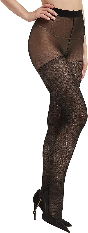 Carpediem Women Thigh High Stockings, Stockings Women, Black Hollow-Out Jacquard Fishnet Patterned, High Nylons Women Tights Black