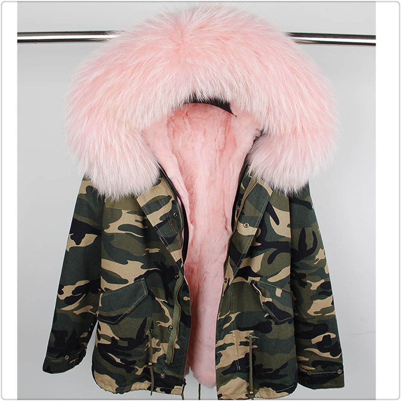 Hchengxianz Woman Large Raccoon Fur Collar Hooded Coat Parkas Outwear Detachable Rabbit Fur