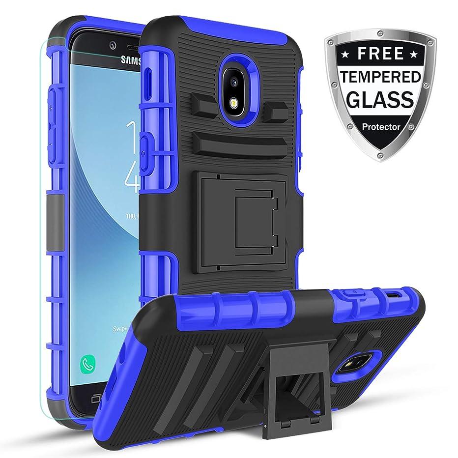 for Samsung Galaxy J7 2018 case, Galaxy J7 V 2nd Gen Case,Galaxy J7 Refine Case,Galaxy J7 Aero,J7 Star,J7 Top,J7 Crown,J7 Aura,J7 Eon,Kickstand Heavy Duty TPU+PC Dual Layer Cover Shell (Blue)