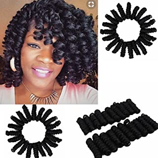 Eunice Hair Spiral Curls Crochet Braiding Bouncy Twist Kenzie Curl Hair Crochet Braids for Black Women Each Box 20 Strands/Pack 3Pcs/Lot (20 inch kenzie, black)