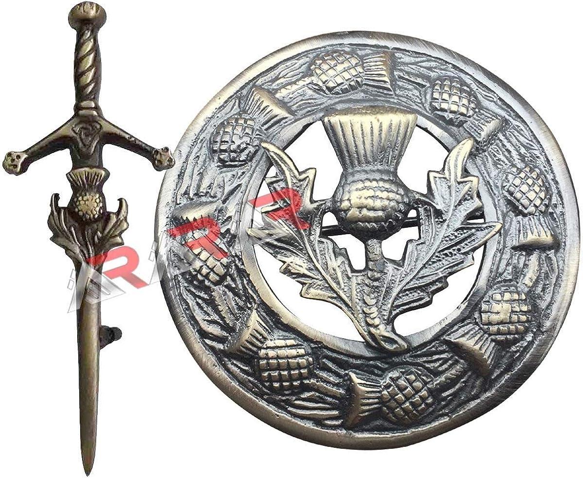 AAR Kilt Pin & Brooch Badge Thistle Hilt Set Fly Plaid Antique Finish