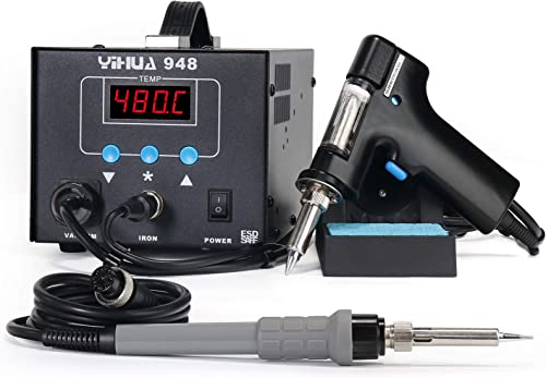 high quality YIHUA 948 2 in 1 ESD Safe 80W Desoldering Station and 60W Soldering Iron- Desoldering Gun and Soldering discount Station °F wholesale /°C outlet online sale