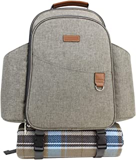 HappyPicnic Insulated Picnic Backpack for 2 Persons with Full Set of Tablewares, Roomy Cooler Compartment, Bottle Holders and Large Waterproof Picnic Rug (Brushed Grey)