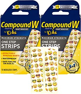 Compound W One Step Medicated Strips For Kids | Wart Removal | 10 Strips | 2 Pack