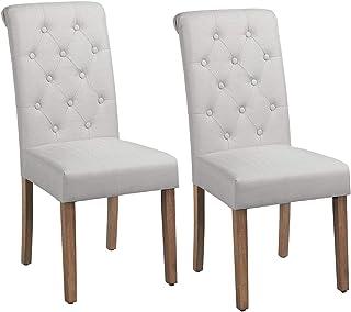 Yaheetech Lot de 2 Chaises de Salle à Manger avec Chêne Tissu Chaise de Salon Mobilier pour Bureau Cuisine Bar Réunion Hôt...
